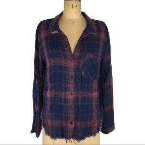 Cloth & Stone Raw Edge Plaid Button up Shirt